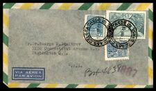 1948 Brazil Airmail Cover To Washington Dc USA Multifranked