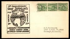 SPRINGFIELD MA AUG 8 1933 GRAF ZEPPELINS WORLD FLIGHT CACHET ON COVER STRIP OF 3
