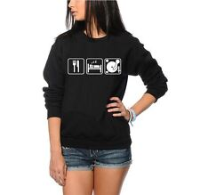 Eat Sleep DJ Music Clubbing Ibiza - Unisex Black and Grey Sweatshirt Jumper