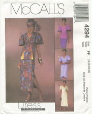 McCalls 4294 Misses Dresses Tops Skirts Headwrap Sewing Pattern