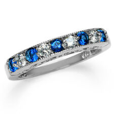 Sapphire Blue CZ White Gold Plated 925 Sterling Silver Journey Ring