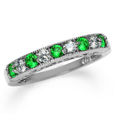 Tsavorite Green CZ White Gold Plated 925 Sterling Silver Journey Ring