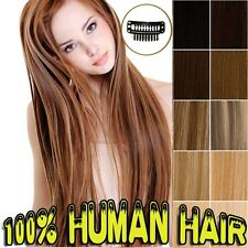 Thick Double Weft 110-160g 100% Clip in Remy Human Hair Extensions 8 Piece BS237