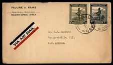 Belgian Congo Butambo to US 1948 Airmail cover Commercial Use