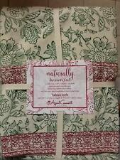 April Cornell Naturally Beautiful Floral Red Green Christmas Tablecloth All Size