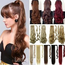 100% Real Thick Clip In human Hair Extension Pony Tail Wrap Around Ponytail Lh5