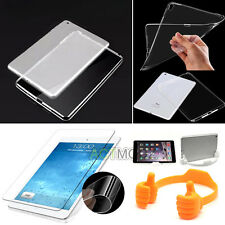 Silicone Transparent Case Cover & Soft Screen Protector & Stand Holder for iPad