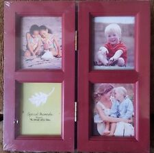 """4 Picture (2.25"""" x 2.75"""") Hinged Picture Frame ~Burgundy 7.5"""" x 7.75"""" frame size"""