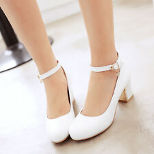 Women Mary Jane Round Toe Ankle Strap Shoes Pump Mid Chunky Heel Buckle Lolita