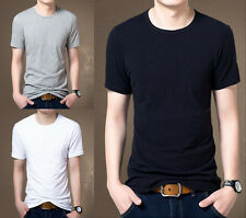 New Casual Mens Slim Fit T-shirt Short Sleeve Muscle Crew Neck T-Shirts Tee j54
