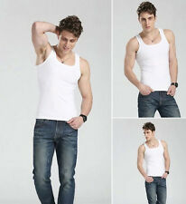 Fashion Quality 100% Cotton Mens A-Shirt Wife Beater Ribbed Tank Top Muscle ty0