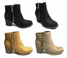 Womens Ladies Ankle Boots Shoes Block Mid Heels Frill ZipUp Suede Cute Sexy Boot