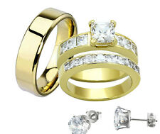 His & Hers Stainless Steel Princess CZ Wedding Ring Set Steel Men Band + Stud