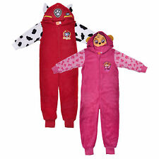 Fleece Hooded Onesie PAW Patrol Marshall Skye Red Pink Pyjamas Girls Boys PJs
