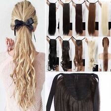Real Synthetic Drawstring Tip up Ponytail Clip in Pony Tail Hair Extension Fm2
