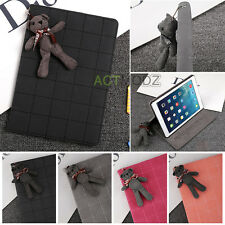Lovely Bear Grid PU Leather Flip Stand Case Cover for iPad 2 3 4 Mini Air 1st 2