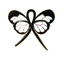 Black Ribbon Butterfly Awareness Pin Melanoma Mourning Suicide Cancer Cause New