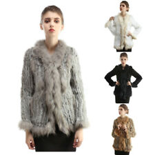 Women Winter Real Rabbit Raccoon Fur Collar Coat Jacket Warm Knitted 4 Colors