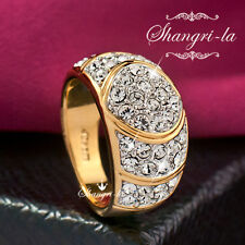 0530 18K YELLOW GOLD GP Womens Full CRYSTAL COCKTAIL RING with SWAROVSKI DIAMOND