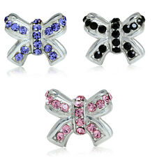 Tanzanite, Black&Rose Pink Crystal 925 Sterling Silver RIBBON BOW European Bead