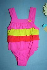 CARTERS 18 MONTH BABY GIRLS PINK YELLOW ONE PIECE RUFFLE UPF 40 SWIMSUIT NWT