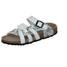 Softwaves Women's House Shoes white Slippers leather footbed Buckle 274 391