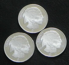 """LOT OF 3 """"BUFFALO/INDIAN HEAD""""  ONE TROY OUNCE 999 FINE SILVER ROUNDS"""