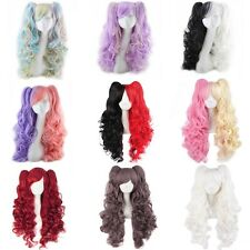 Harajuku Anime Wig Colored Cosplay Hair Long Wavy Curly Full Wigs+2 Ponytail Wig