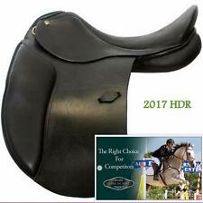 "Premium BLACK Dressage Saddle 18"" W HDR Henri De Rivel Buffalo Leather Flocked!"