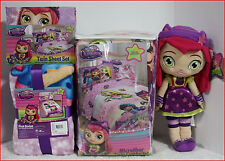 1 / 6 pc- LITTLE CHARMERS Comforter + Sheet + Blanket + HAZEL Doll - Purple TWIN
