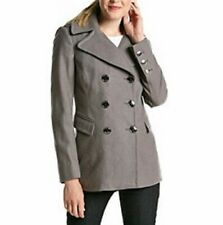 KENNETH COLE 10, 12 Smoke Gray Double Breasted Wool Blend Peacoat *NWT $220