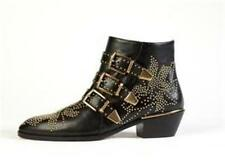 Chloe Susannah Susan Suzanne Black Leather Goldtone Studded Buckled Ankle Boots
