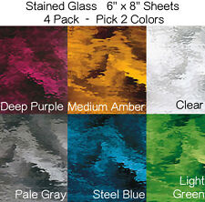 (4 Pack) 6 x 8 inch Stained Glass Sheet Pick TWO COLORS from 7 WATERGLASS Colors