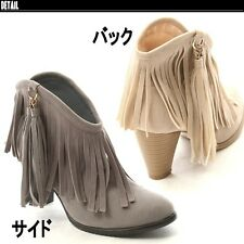 New Women Ankle Boots Tassel New High Chunky Heels Cowboy Western Shoes Suede
