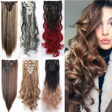 Heat Resistance Full Head Clip in Hair Extensions Real Human Remy Synthetic Mth