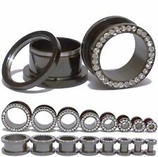 Stainless Steel Screw Ear Gauges Flesh Tunnels Plugs Stretchers Expander 1 Pair