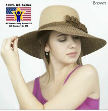 Women's Crushable Brown Wide Brim Straw Floppy Hat SPF50 Glitter Small Bow Paper