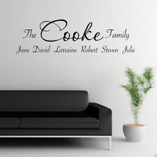 PERSONALISED FAMILY Wall Art Sticker Lounge Quote Decal Mural Transfer Stickers