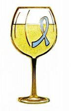 Periwinkle Blue Ribbon Pin White Wine Glass Cancer Cause Awareness Tasting New