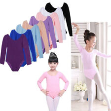 Girls Long Sleeve Ballet Dance Dress Fitness Skate Gymnastics Bodysuit Leotard
