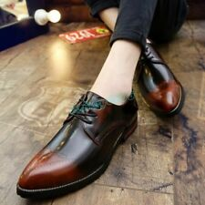 Mens Casual England Lace Up Pointy Toe Wedding Formal Dress Shoes Oxfords Office