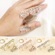 Ring Multiple Finger Stack Knuckle Band Crystal Set Womens Fashion Jewelry LEBB