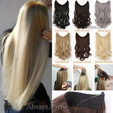 "Hidden Secret Wire In Long Straight Wavy Hair Extension 20"" Real Thick As Human"