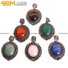 """Natural Oval Gemstone Pendant Necklaces Leather Chain Fashion Ladies Jewelry 18"""""""