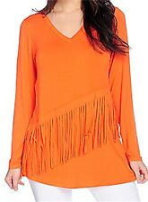 New Women's V-neck Rayon Knit Long Sleeve Fringe Tunic Top Size M~XL