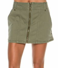 Free People Too Cool Military Zip Front Mini Skirt Green 2, 6, 8 NWT $78