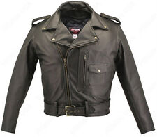 Mens Made in USA Thick Black Naked Leather D Pocket Motorcycle Jacket