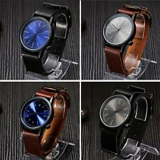 Mens Leather Dial Watch Stainless Steel Analog Alloy Quartz Wrist Watch