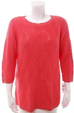 NWT CHARTER CLUB Tropical Pink Pointelle Knit 3/4 Sleeve Sweater Top 2X 3X $80