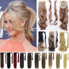 UK Wrap Around Clip In As Human Ponytail Hair Extensions Pony Tail Long Wavy 24""